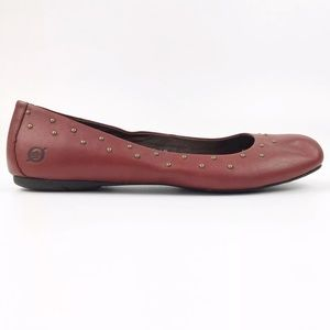 BORN Women's 8 Red Leather Brass Studded Flat Shoe